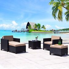 5 PC Wicker Rattan Chair Sofa Cushioned Patio Lawn Sectional Ottoman Set Black