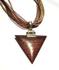 Rosenholz Anhänger Dreieck Form 925er Sterling Silber + Baumwoll Halskette Neu