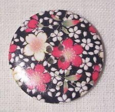 40/016 - BOUTON BOIS VERNIS FLEURIS rouge ** 40 mm 4 cm ** Lot au choix X1 X2 X3