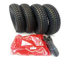 Set of (4) 3.00-4 (260x85) Black Block Tread Mobility Scooter Tyres & Tubes.