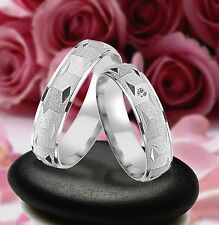 2 SILBER Trauringe Eheringe mit echten Diamant , GRAVUR GRATIS  , JL7-1
