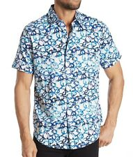 Robert Graham Men's Short Sleeve Greenpine Abstract Print Shirt Classic Fit Blue