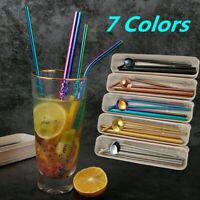 4 Stainless Steel Metal Drinking Straw Reusable Straws 2 Cleaner Brush Kit+BOX
