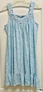 SECRET TREASURES Teal Blue Floral Sleeveless Short Nightgown Eyelet Trim Sz L