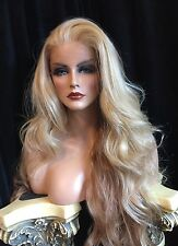 Stunning, HUMAN HAIR BLEND, Long Blend Of Blonde Shades Lace front Wig!