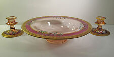 "3pc PINK DEPRESSION GLASS CONSOLE BOWL SET - DIAMOND GLASS #713 SHAPE - 12"" D"