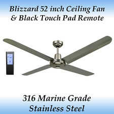 "Blizzard 52"" 316 Marine Grade Stainless Steel Ceiling Fan + Bl Touch Pad Remote"