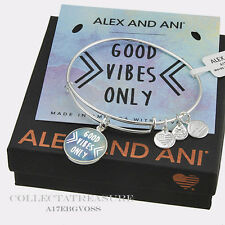 "Authentic Alex and Ani ""Good Vibes Only"" Shiny Silver Expandable Charm Bangle"