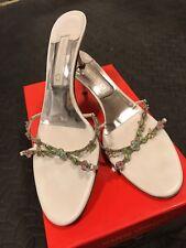 MARTINI OSVALDO Bianco size 39.5 Jewelled evening shoes