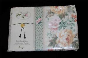 Vintage Croscill BILTMORE Shabby Chic Floral Fitted Sheet Peach Pink Green NIP