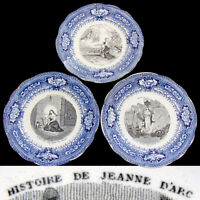 "Antique French Gien 3pc Plate Set, Figural Scenes, ""Histoire de Jeanne D'Arc"""