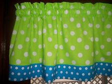 """Lime Green Turquoise Polka-Dot fabric window topper curtain 13"""" by 42"""" Valance"""