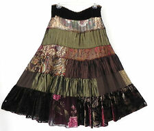 Cache Skirt Silk Blend Fit-Flared Tiered maxi Petticoat Size 4