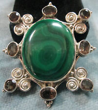 37mm X 30mm Malachite With Eight (8) Smoky Topaz In Sterling Silver Pendant