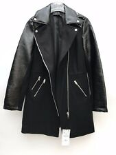 ZARA WOOL BIKER COAT WITH FAUX LEATHER SLEEVES SIZE M REF 5854 227