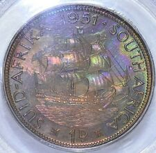 South Africa 1951  Penny PCGS PR66BN Proof Purple Green toning combine shipping