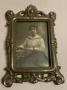 Antique Silver Picture Photo Frame with Victorian Woman Photo