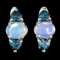 100% NATURAL 9X7MM OPAL WELO BLUE FIRE & LONDON BLUE TOPAZ SILVER 925 EARRING