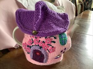 Hand knitted  ' Fairy House ' tea cosy / cosie Pink And Lilac Coloured Tea Cosy