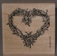 """Stampin' Up! Rubber Stamp Roses and Twig Vine Wreath Wood Mount  2.25"""" x 2.25"""""""