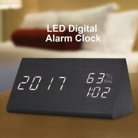 Small Wood Alarm Clock LED Digital Temperature/Humidity Display Home Decor LJ