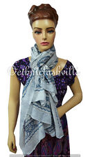 Indian Fashion Women Multi Use Long Block Print Cotton Scarf Wrap Sarong Shawl-3