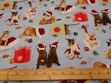 "1 yard of Elizabeth Studios ""Holiday Friends"" Kitties on blue Christmas Fabric"