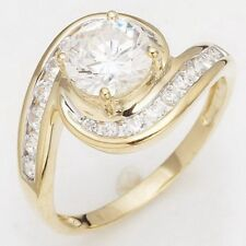 Round Cut Size 9 White Topaz 10KT Gold Filled Women's Wedding Anniversary Ring