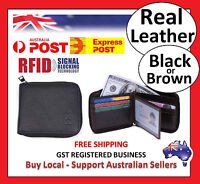 RFID Mens Womens Wallet Security Lined Full Grain Cow Leather BLACK BROWN M9