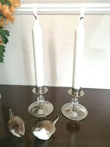 PAIR of DELIGHTFUL SILVER PLATE & CUT GLASS CANDLESTICKS - CHRISTMAS TABLE DECOR
