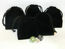 "Lot of 5 Small Black RPG Dice Bags 3"" x 4"" Velveteen Cloth Bag New DnD Pouch"
