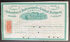 COLUMBUS & INDIANAPOLIS CENTRAL RAILWAY Stocks (Lot of 2) 1866 $50 & 1868 $100