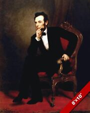 PRESIDENT ABRAHAM LINCOLN SITTING RED CHAIR OIL PAINTING ART REAL CANVAS PRINT