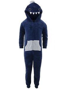 Only Boys Blue Shark Fleece Hooded One-Piece Pajamas