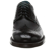 TED BAKER MENS SENAPE DERBY BLACK LEATHER LACE-UP SHOES £150