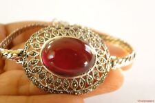 Red Ruby Solitaire Marcasite Ornate 925 Sterling Silver Bracelet