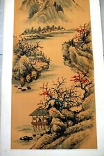 Antique Chinese Ink Painting Mountain village Landscape