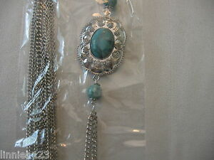 """Body chain MS Accessories silver body chain 24""""turquoise pendant universal metal"""