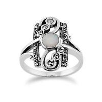 Gemondo Sterlingsilber 0.28ct Opal Cabochon & 0.15ct Markasit Jugendstil Ring