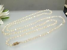 "37"" Vintage Japanese freshwater Biwa pearl necklace tiny small oval side drill"