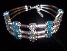 Tibetan Silver with BLUE & CLEAR Crystal Bead CUFF Bracelet B-02