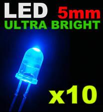 421/10# LED bleu 5mm 10pcs + résistance ---->8000mcd