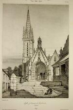 Eglise Ossuaire LANDIVISIAU Finistère, Bretagne, Architecture gothique litho
