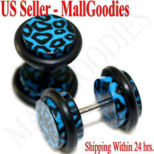 1250 Fake Cheater Illusion Faux Plugs Blue Leopard Cheetah Spots Print 0G 8mm