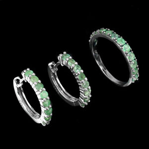 Unheated Round Emerald White Gold Plate 925 Sterling Silver Sets Ring & Earrings