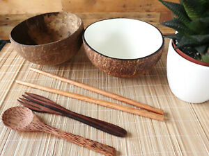 Coconut Bowl Fork Spoon Chopstick 100% Natural Hand Crafted