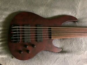 Brice Fretless 6 String Bass Guitar with Bartolini Pickups - Hardshell Case
