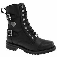 Harley Davidson Balsa Black Womens Leather Mid Calf Zip-up Boots