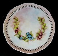 GORGEOUS RETICULATED PIERCED VINTAGE HAND PAINTED PLATE ARTIST SIGNED BERRIES