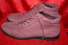 ECCO Plum Purple Nubuck Leather Ankle Boots UK9 EU43 Lace-Up Flats Lined Comfy